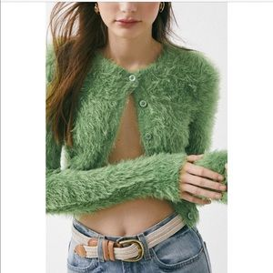UO Green Fuzzy Cropped Cardigan - XS